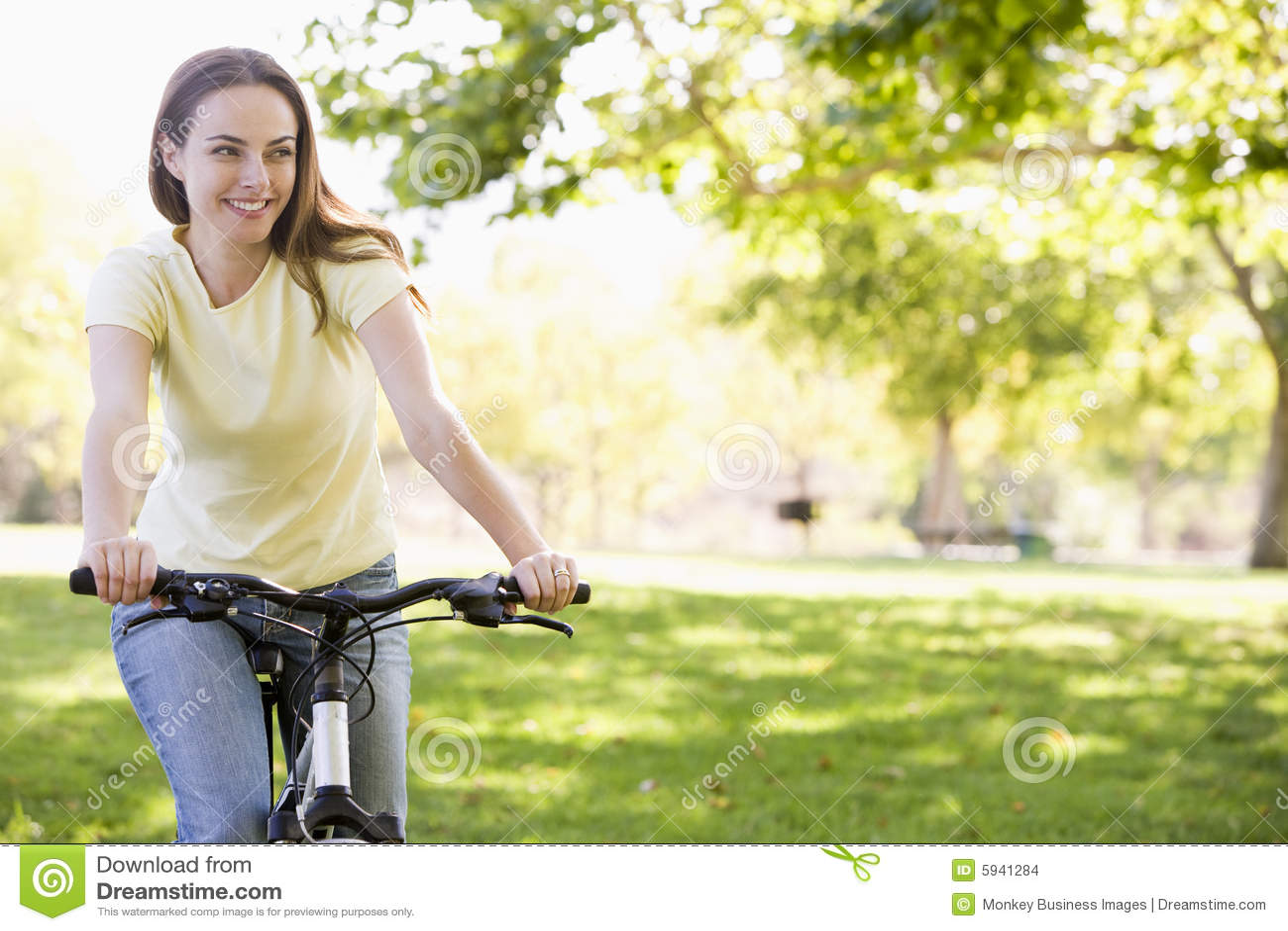Bicycle smiling woman
