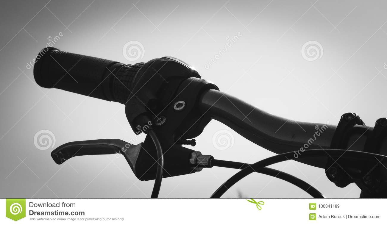 Bicycle Steering Wheel Close Up With Handbrake Color Grayscale Stock