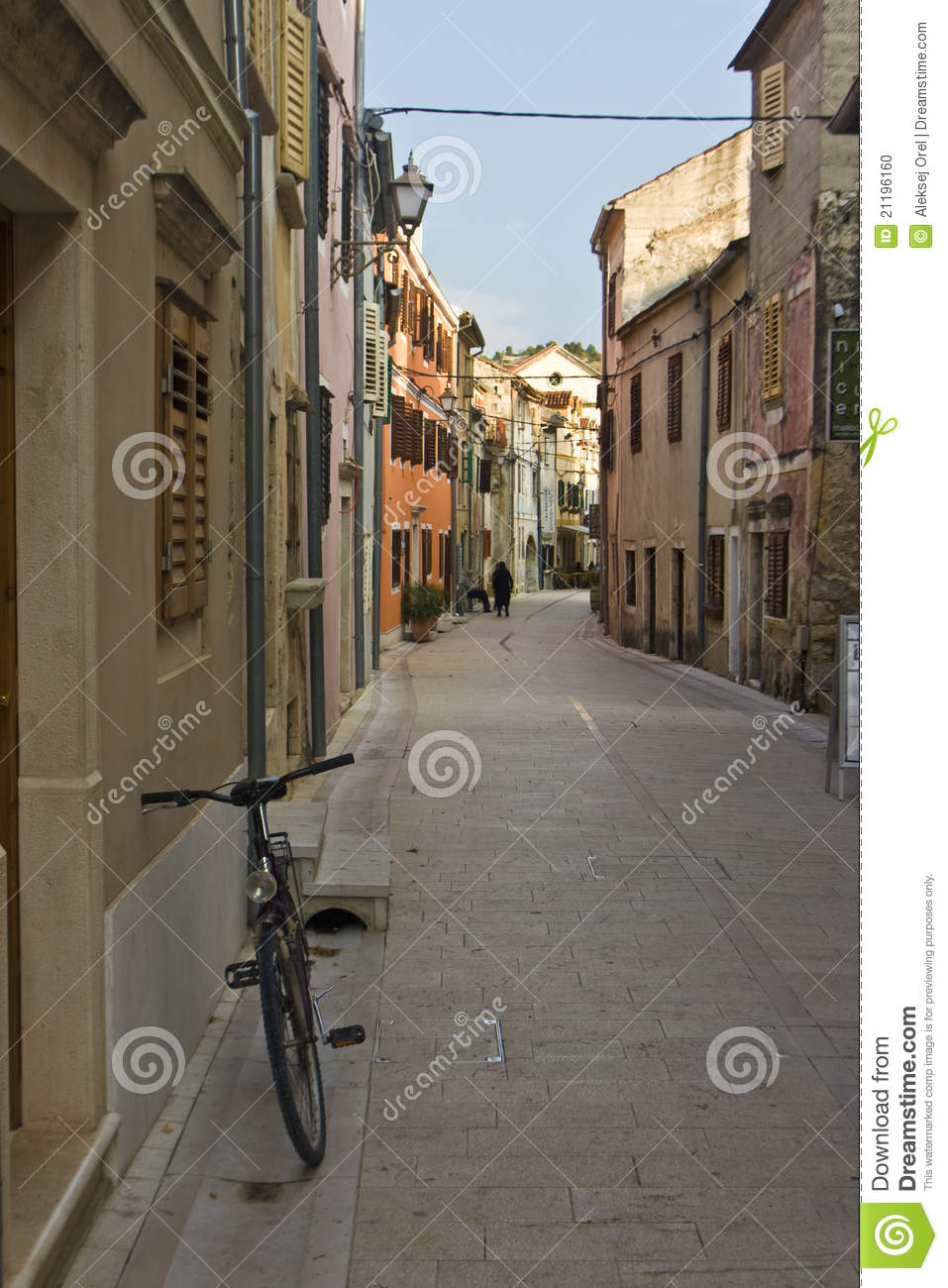 A bicycle in the stone-paved street in Skradin