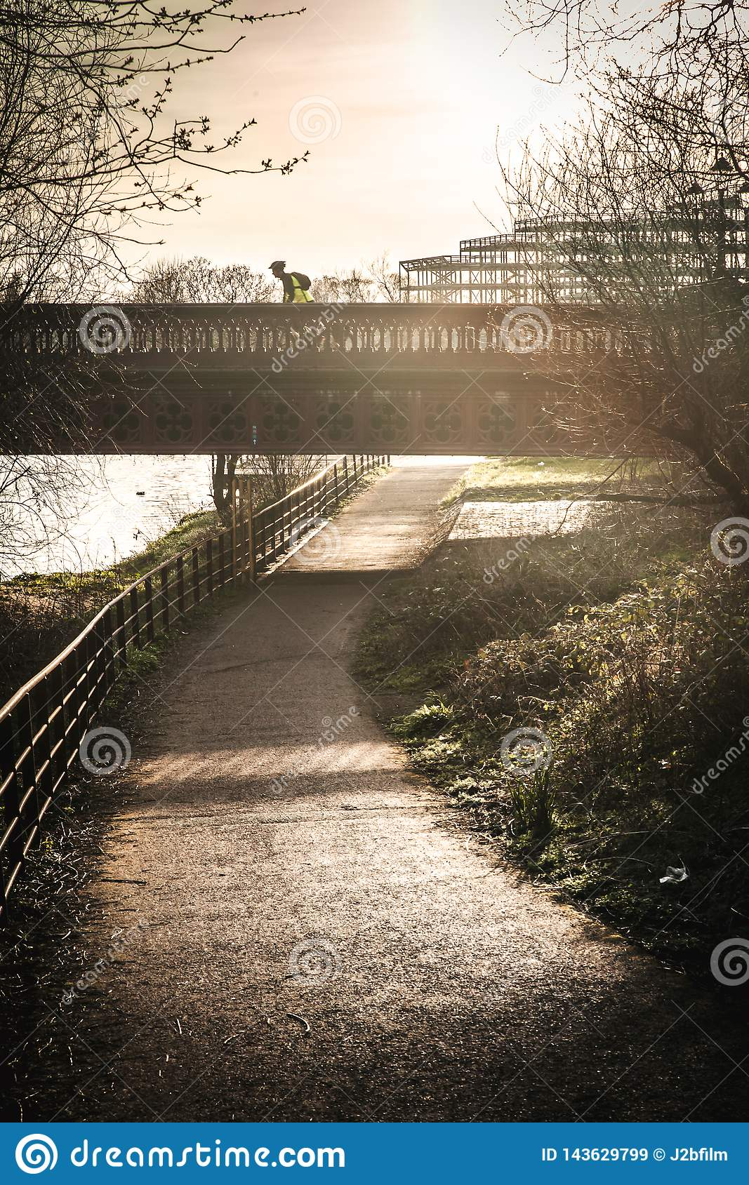 Bicycle and walking path in park Glasgow
