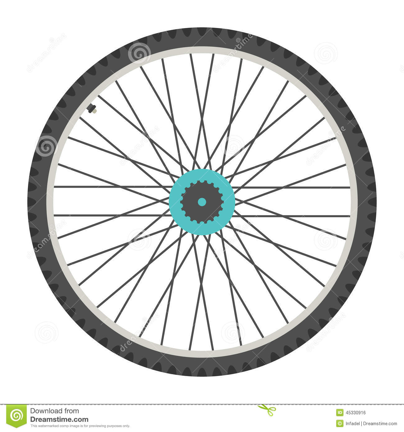 Bicycle Wheel In Flat Style Stock Vector Image 45330916