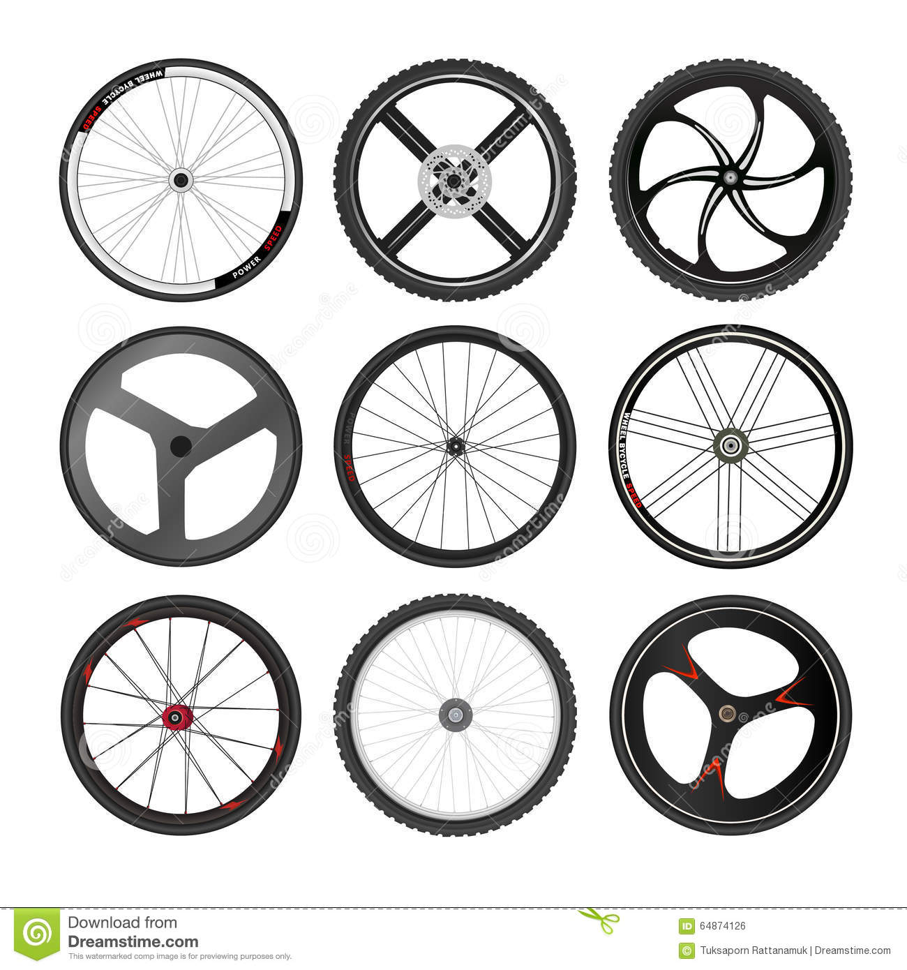 Bicycle Wheel Vector Set Stock Vector Illustration Of Activity 64874126