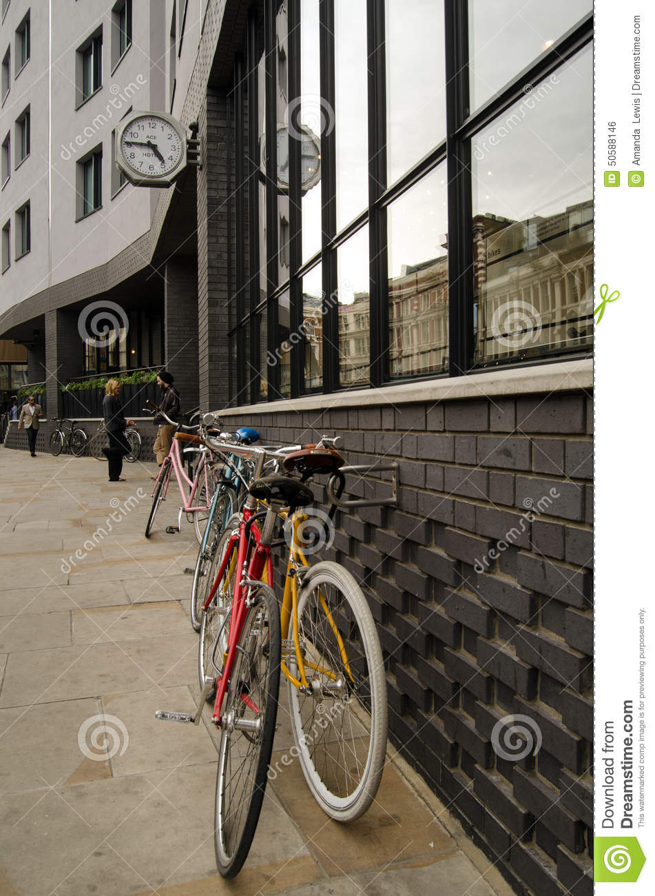 Ace Hotel Shoreditch: Bicycles At Ace Hotel, Shoreditch Editorial Photo