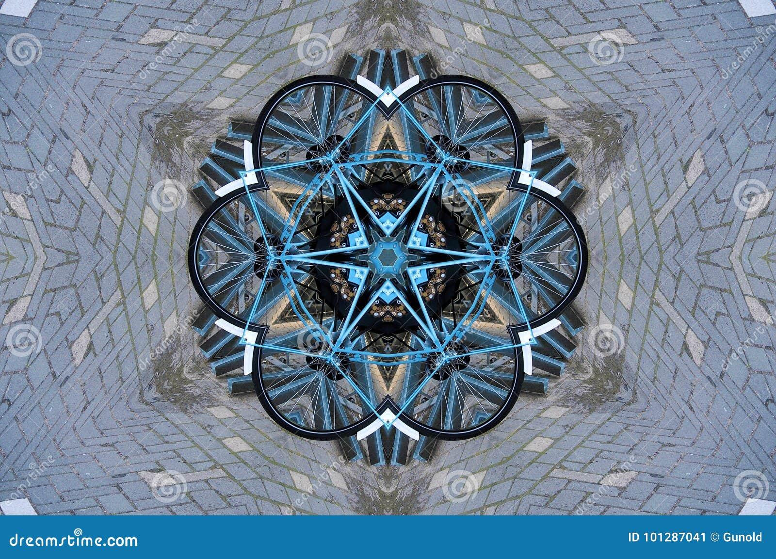 Bicycles through kaleidoscope