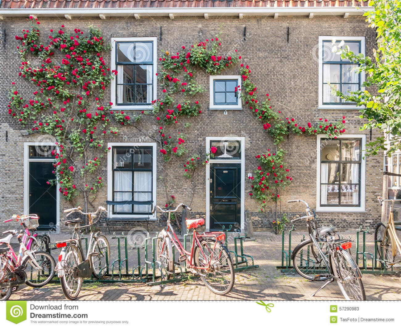 bicycles center climbing doors front gouda holland ... & Bicycles And Old House In Gouda Holland Stock Photo - Image: 57290983 Pezcame.Com