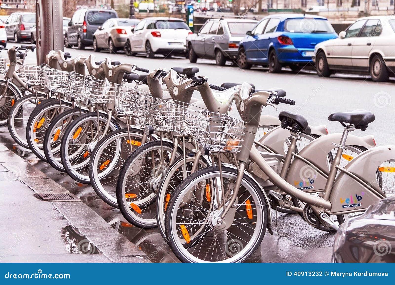 bicycles velib bike rental service in paris france editorial photography image 49913232. Black Bedroom Furniture Sets. Home Design Ideas