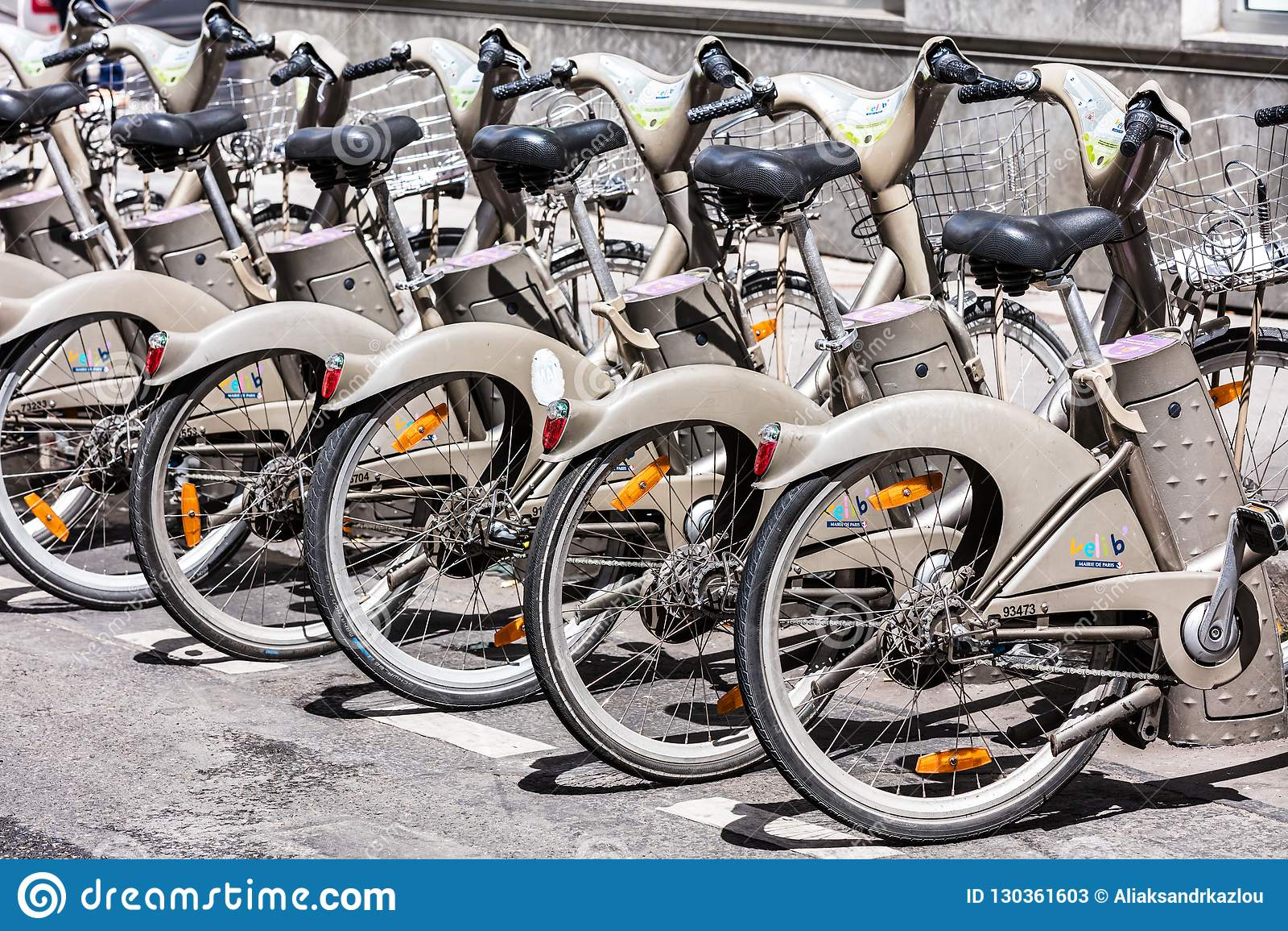 Bicycles Of The Velib Bike Rental Service Paris France