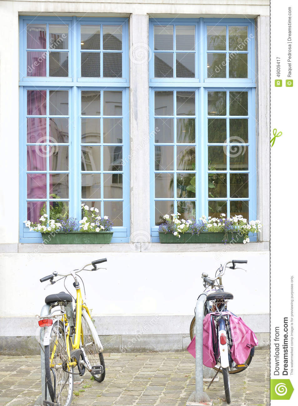 Stock Photo Bicycles White House Blue Windows Two Parked Front Image49009417 on vintage style house plans