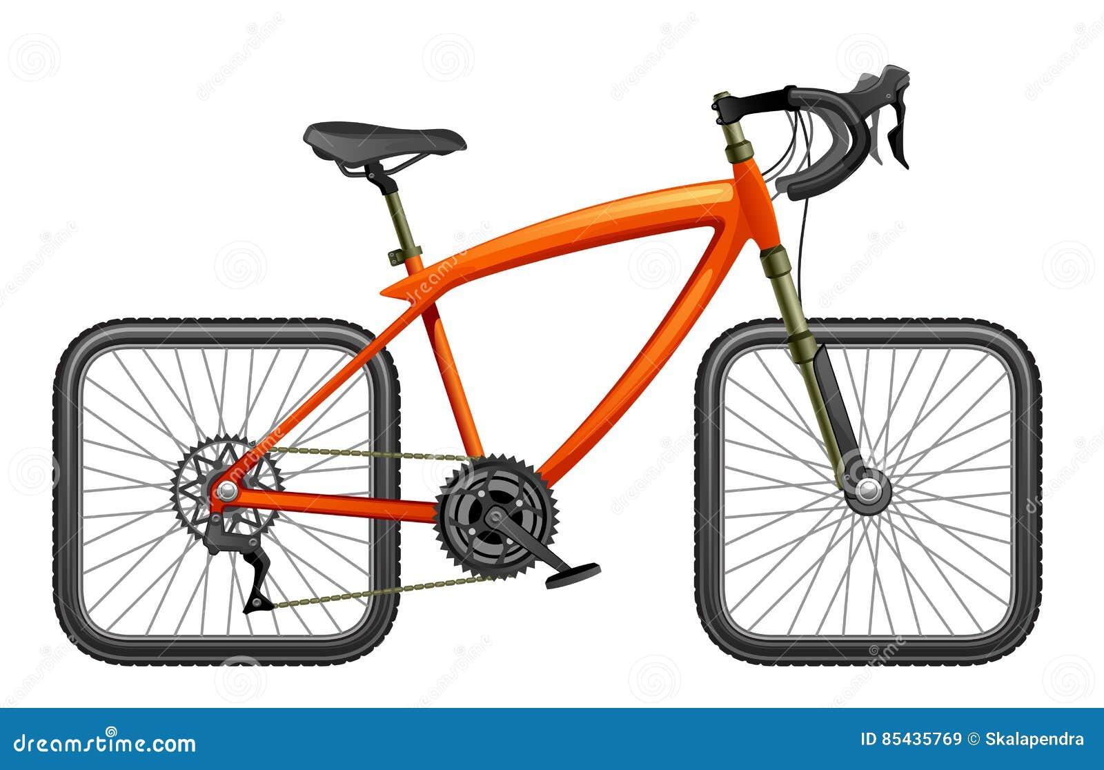 Bicyclette avec les roues carrées