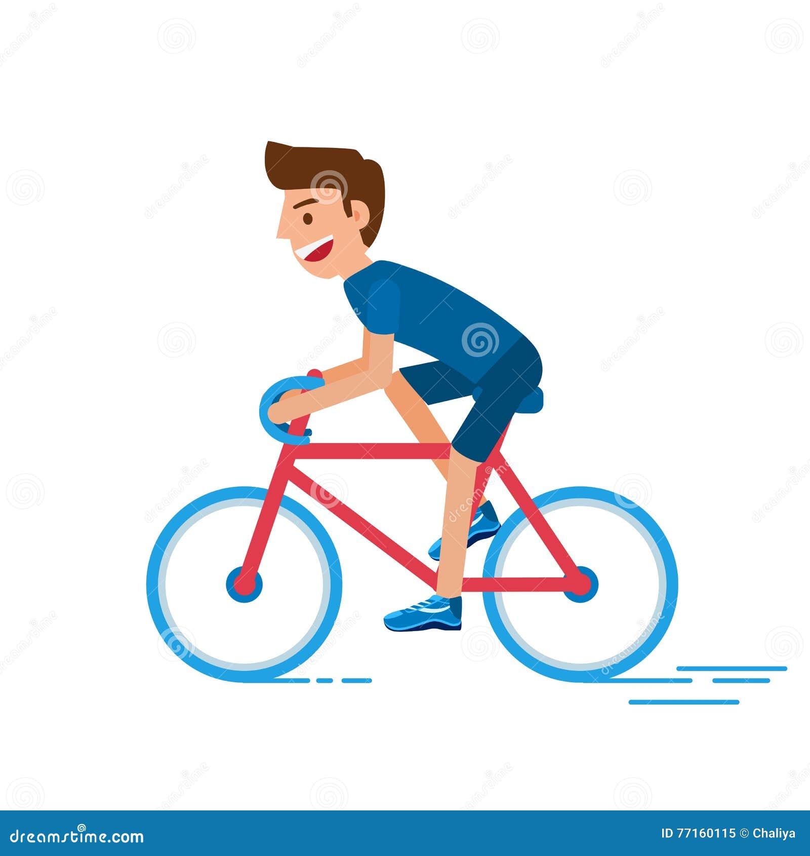 Bicyclette d équitation d homme Homme de cycliste Mode de vie sain avec la bicyclette Style plat de conception de caractère
