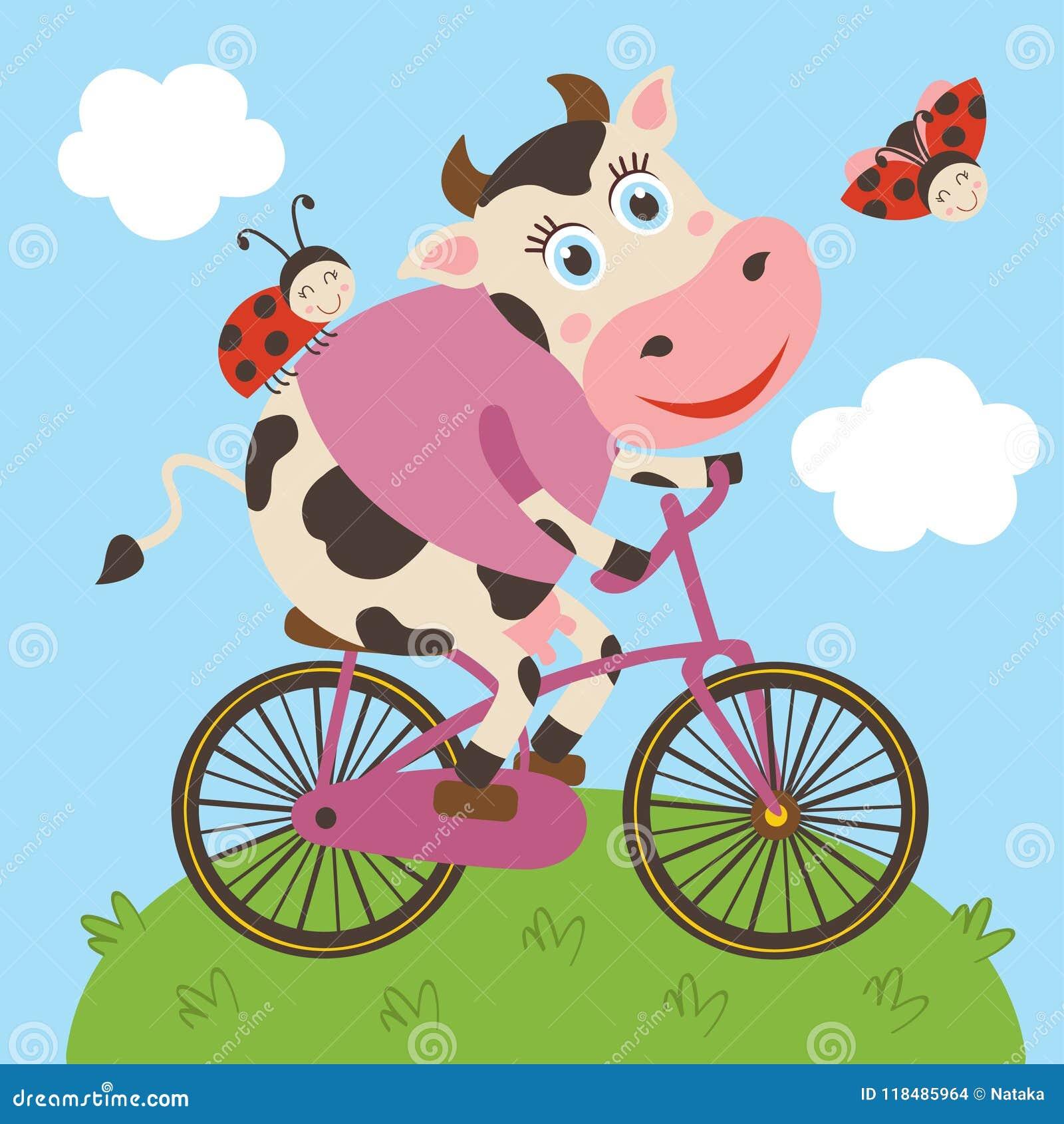 Bicyclette mignonne de tours de vache et de coccinelle
