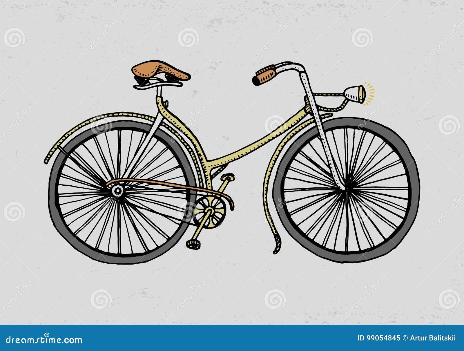 Bicyclette, vélo ou vélo sur rail Illustration de course gravé tiré par la main dans le vieux style de croquis, transport de vint