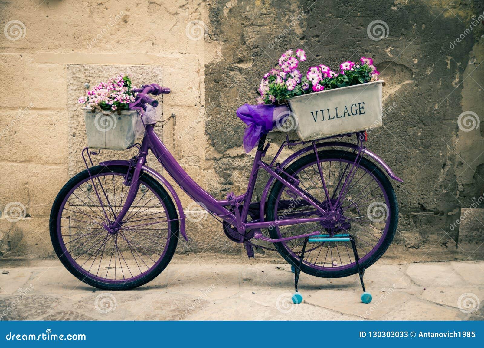 Bicyclette violette de vélo de cru avec la boîte de fleurs, Italie