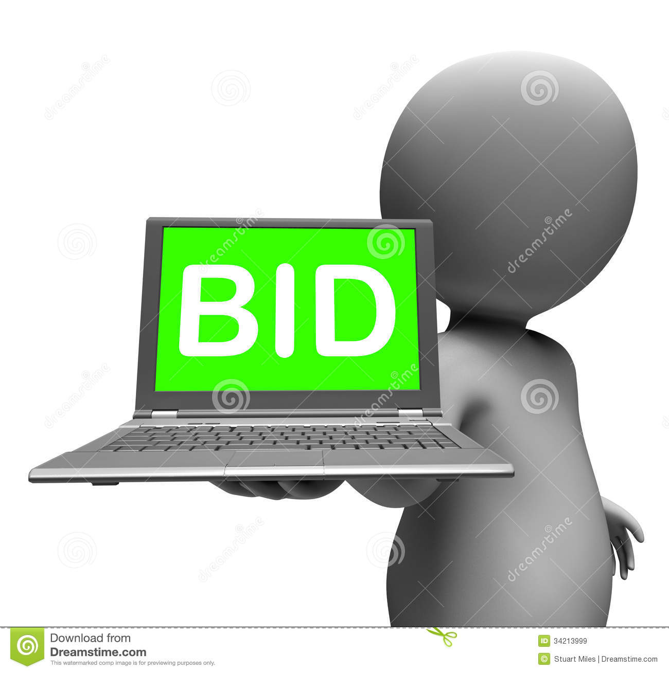 Bid Laptop Character Shows Bids Bidding Or Auction Online Royalty Free ... Business Meeting Handshake