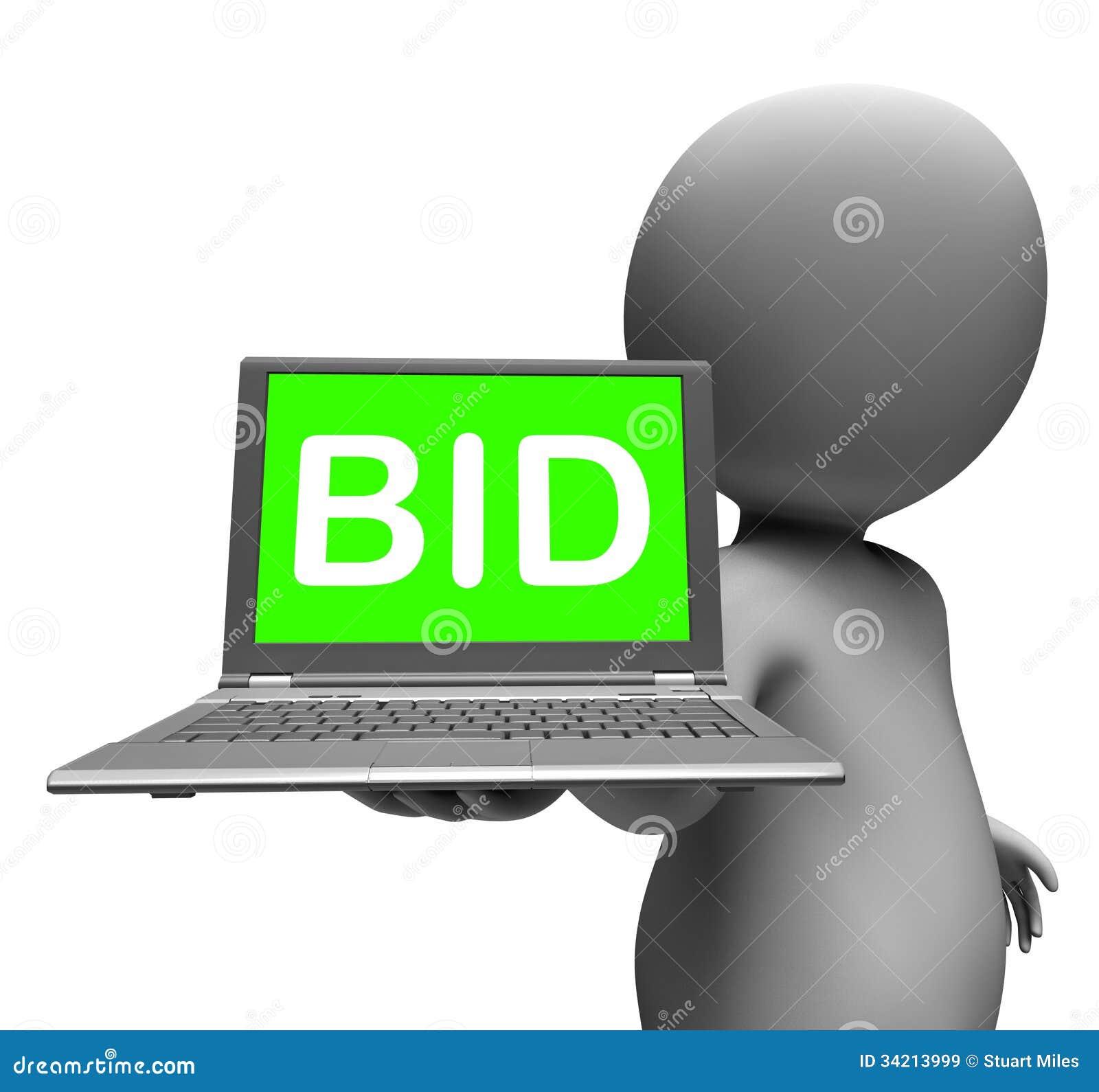 Bid Laptop Character Shows Bids Bidding Or Auction Online