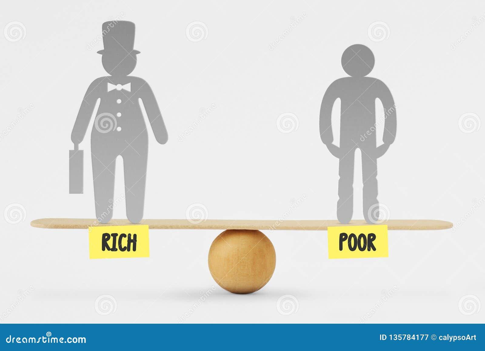 Bieda i bogaci ludzie na równowagi skali - pojęcie ogólnospołeczna równość