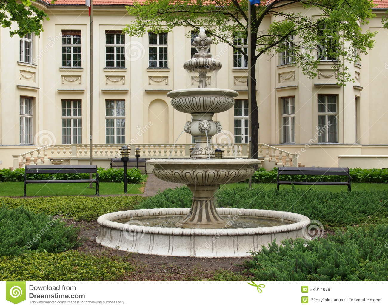 Biederman Palace in Lodz. stock photo. Image of masts   10