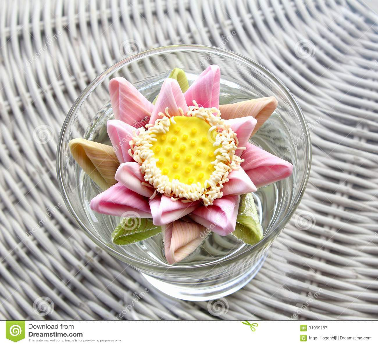 Biedermeier Exotic Flower Bouquet, Wicker Grey Background Stock ...