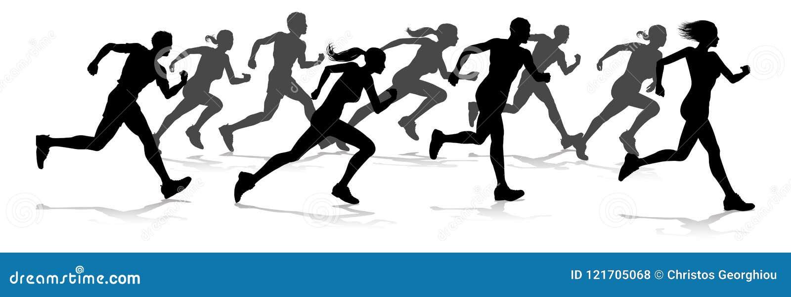 Biegacze Ścigają się zawody atletyczni sylwetki