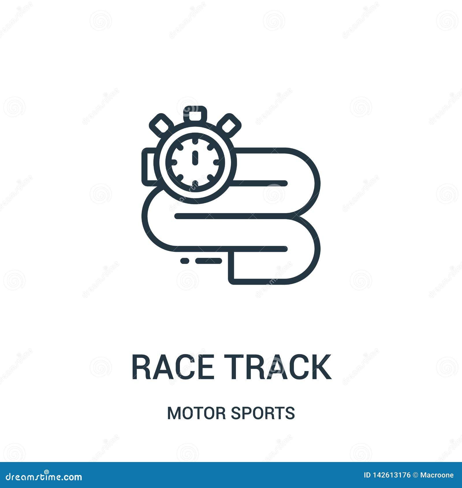 Biegowego ?ladu ikony wektor od motorowych sport?w inkasowych Cienka kreskowa biegowego ?ladu konturu ikony wektoru ilustracja Li