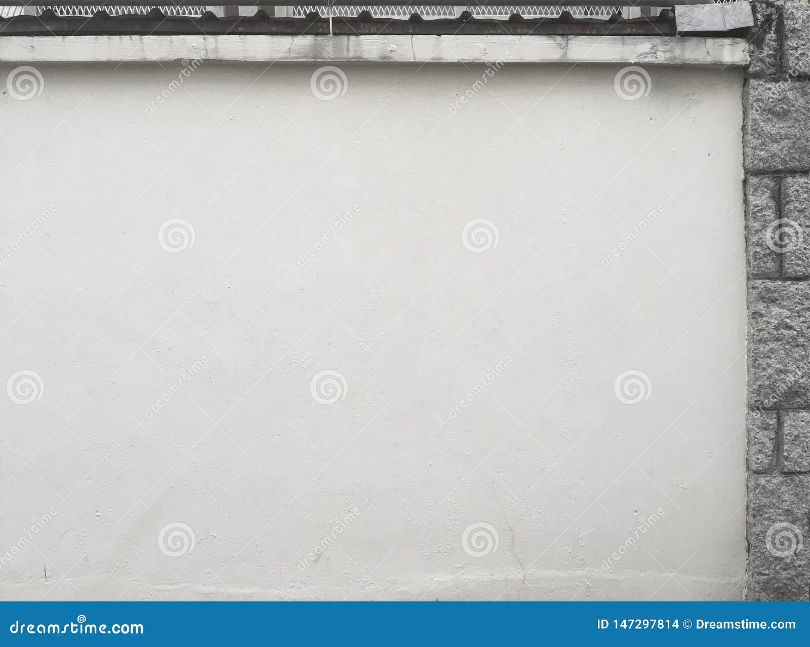 Biel ściany kamienia popielata cegła na boku