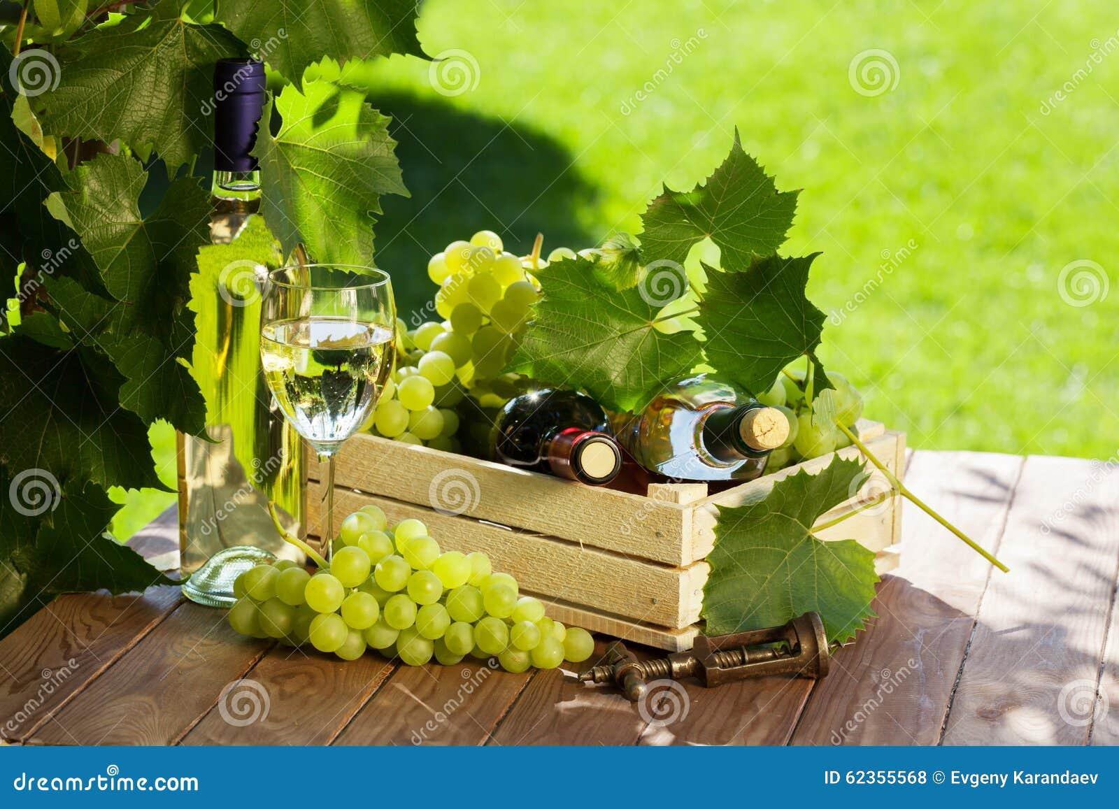 Biel, czerwone wino butelka, szkło, winograd i winogrona,