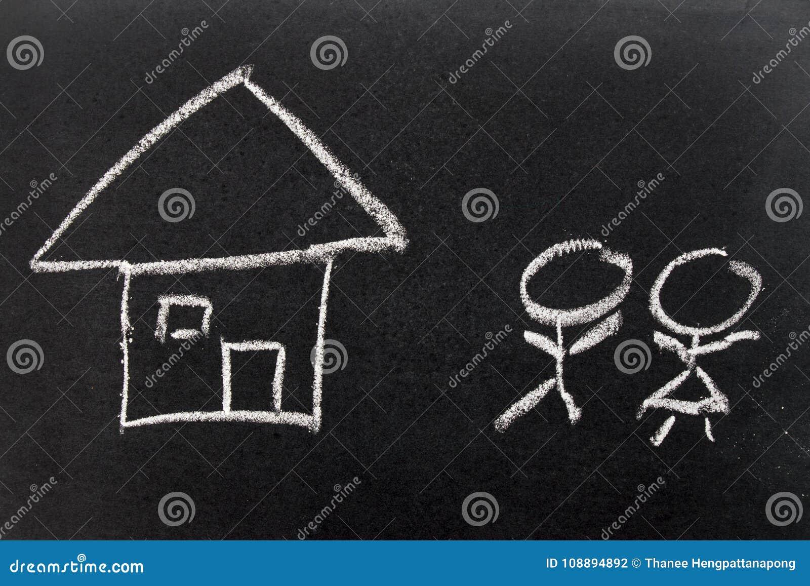 Biel kredy ręki rysunek i ludzie jak samiec równie do domu, kobieta