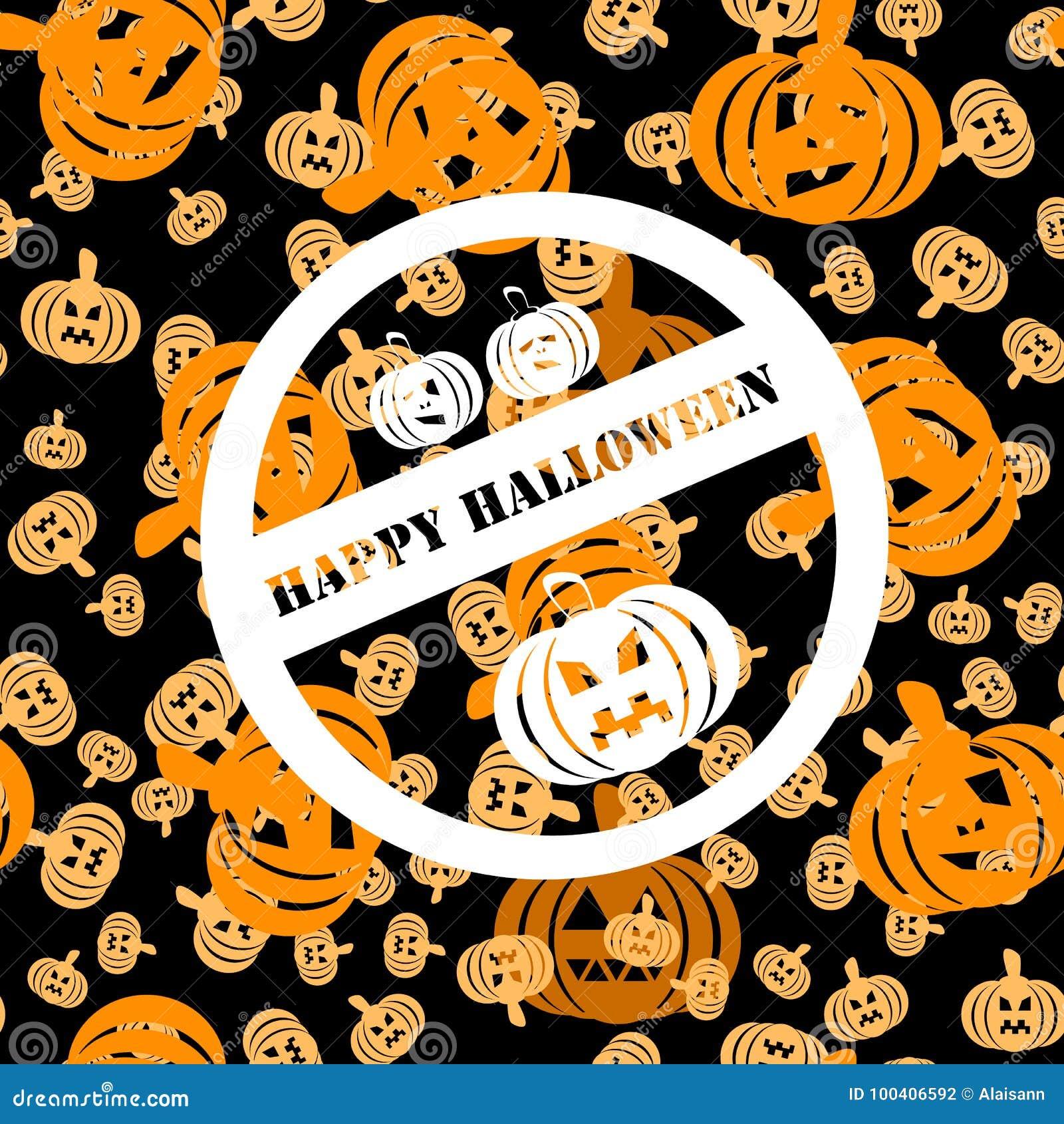 Bielu znaczek z trzy baniami i wpisowym Szczęśliwym Halloween
