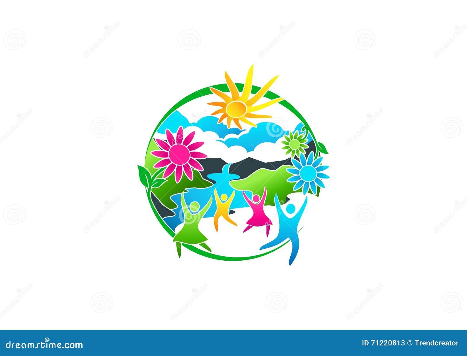 Bien-être, logo, ressort, fleur, icône, été, rivière, symbole et conception de l avant-projet saine de personnes