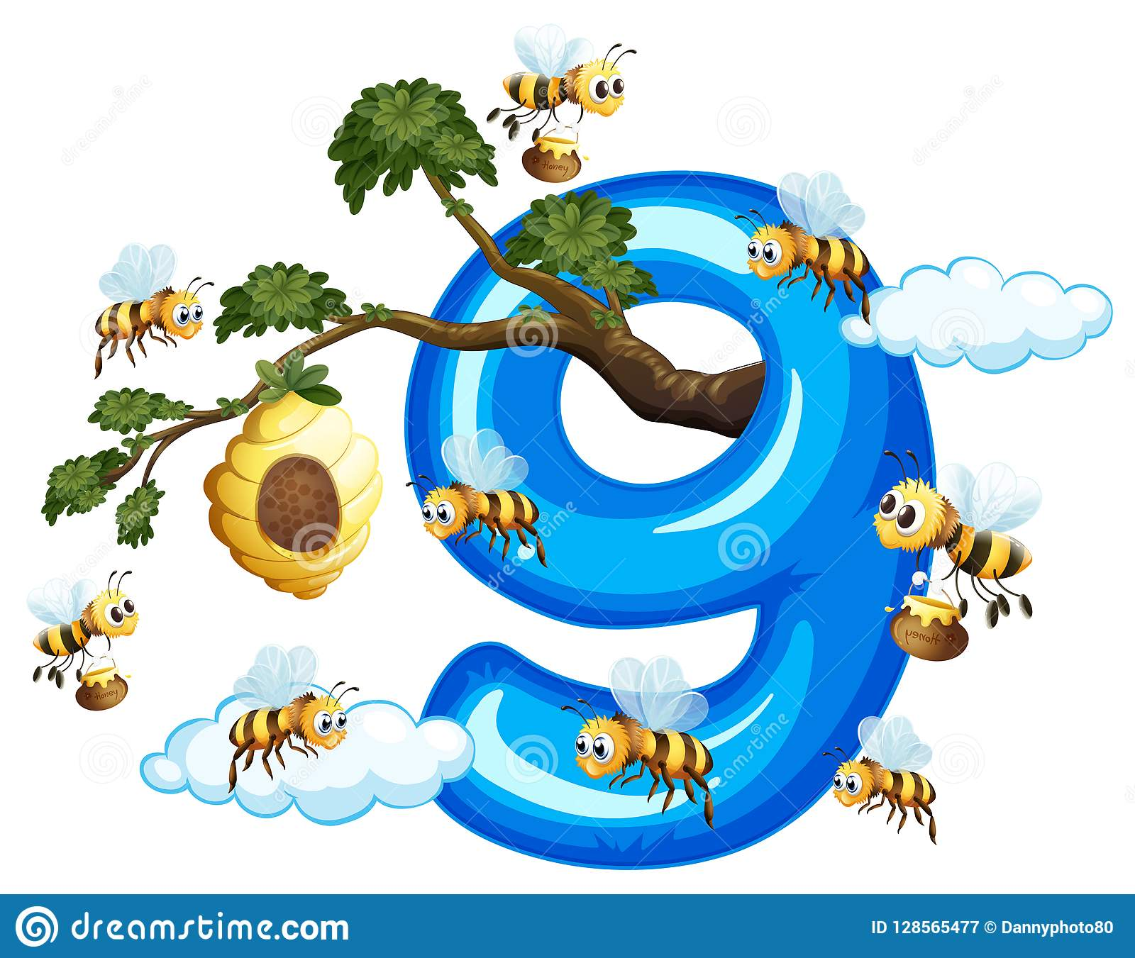 Biene neun mit Nr. neun