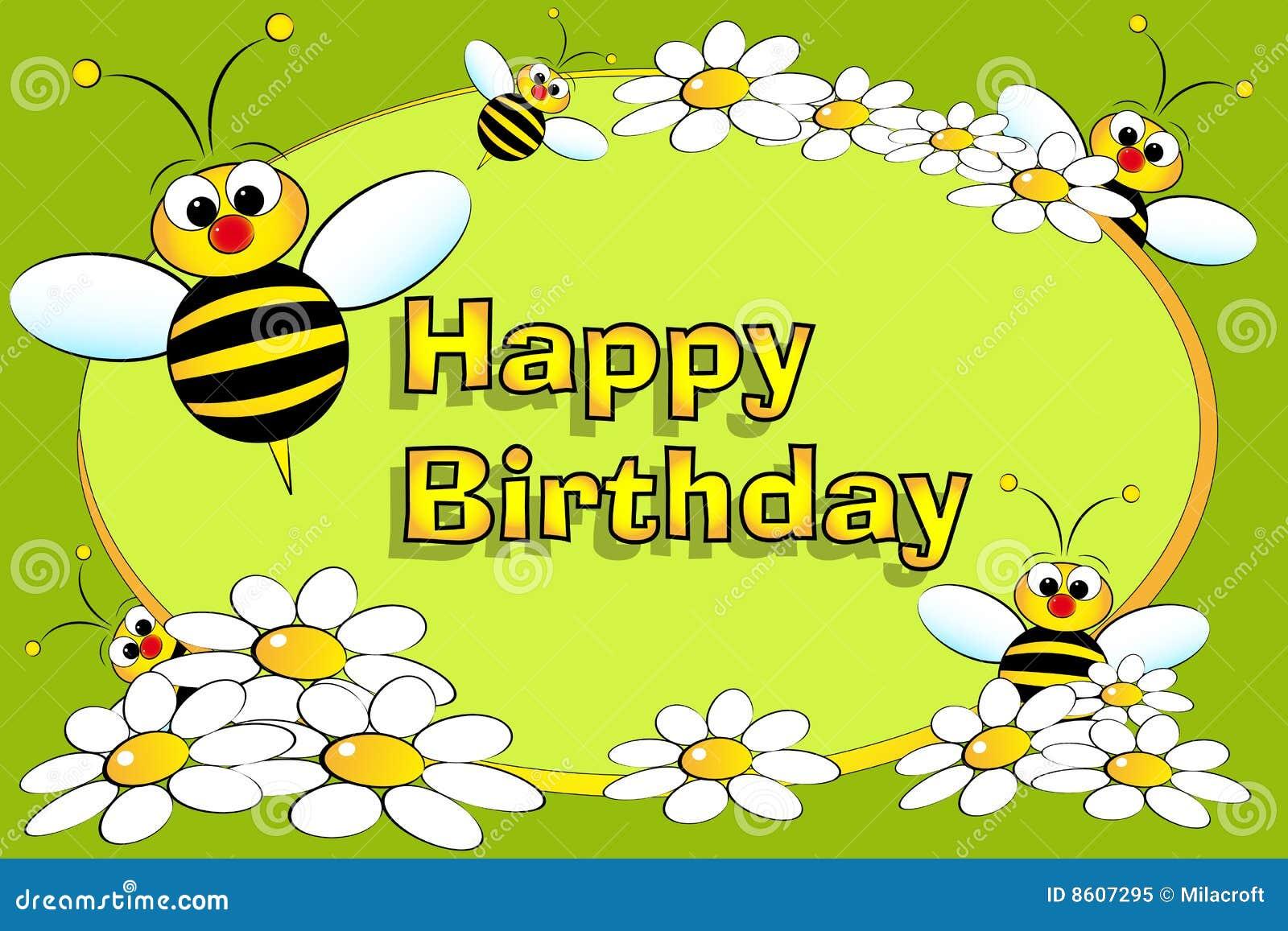 Biene Und Blumen - Geburtstagkarte Lizenzfreies Stockfoto