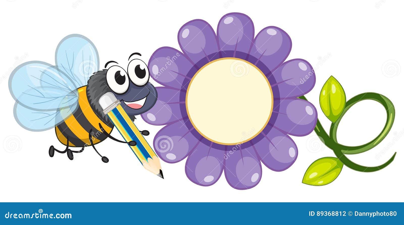 biene und purpurrote blume vektor abbildung illustration