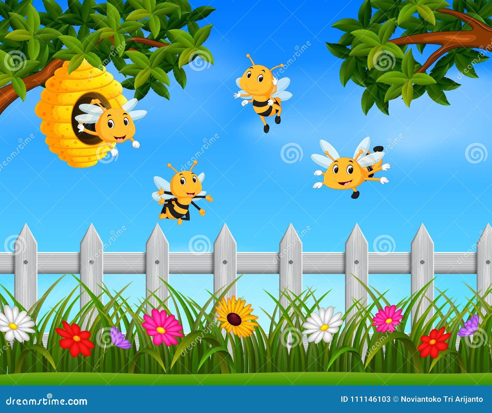 Bienenfliegen um einen Bienenstock im Garten