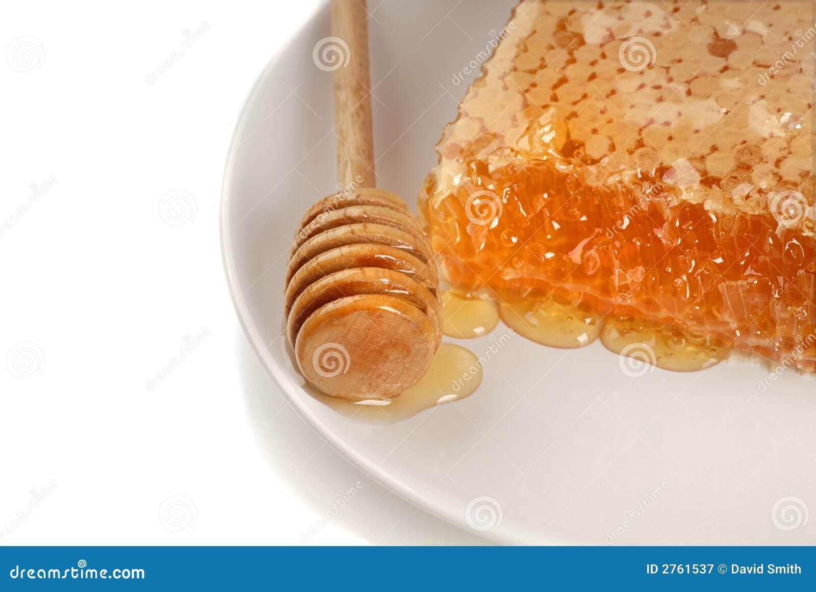 Bienenwabe Mit Einem Honig Stab