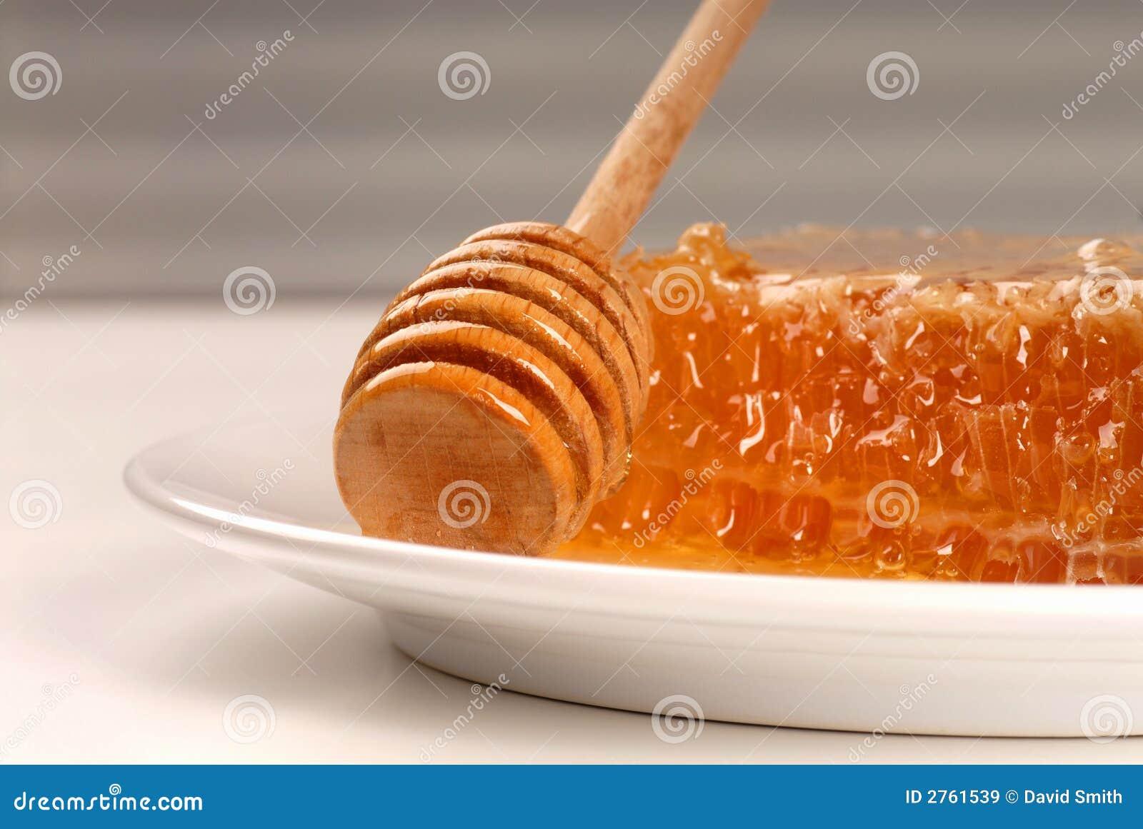Bienenwabe Mit Honig Stab