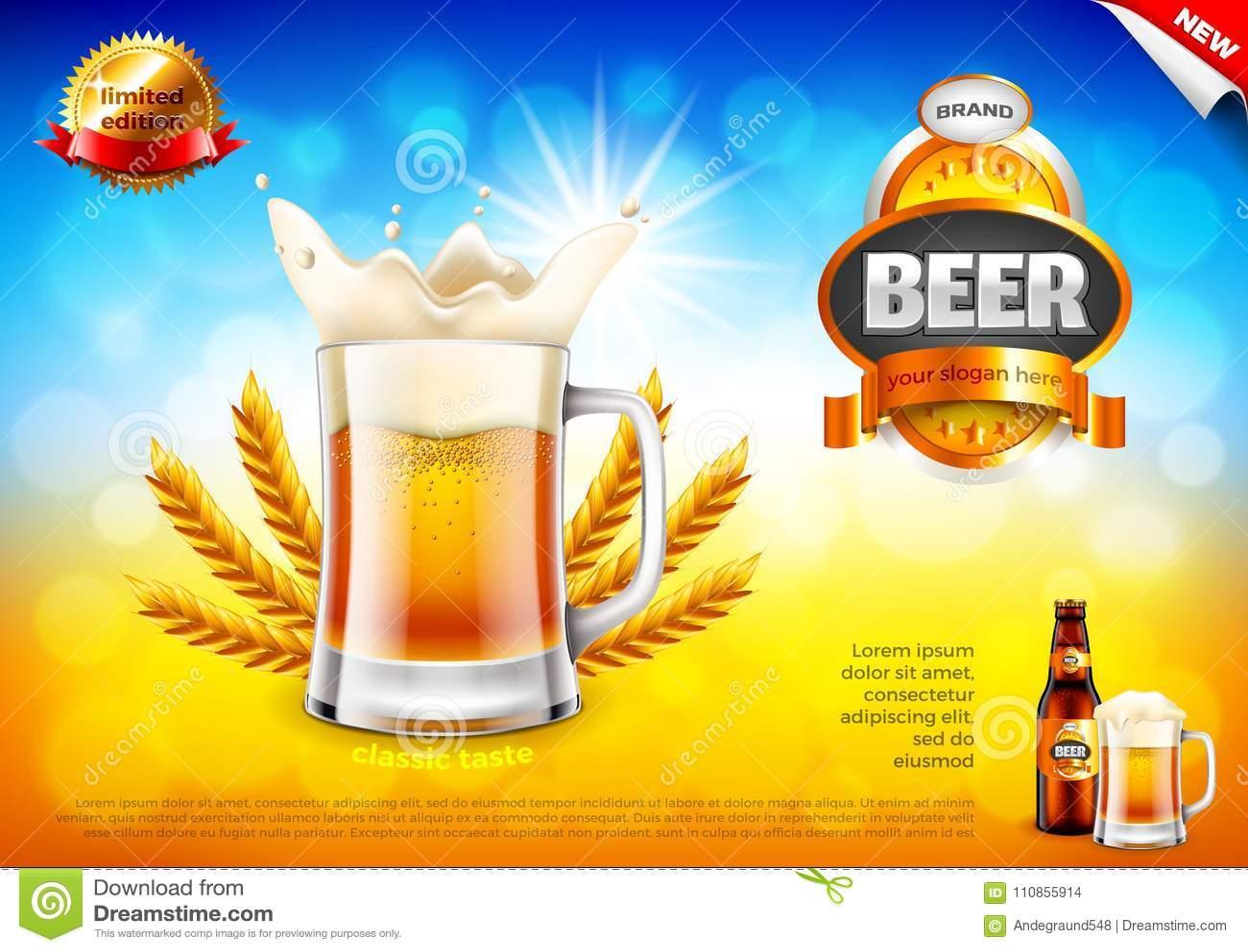 Bieradvertenties Schuimende mok en tarwe op gebieds bokeh vectorachtergrond