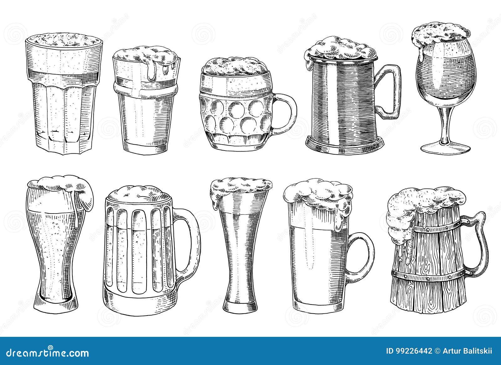 Bierglas, mok of fles van het meest oktoberfest in inkthand wordt in oude schets en uitstekende stijl voor Web, uitnodiging wordt