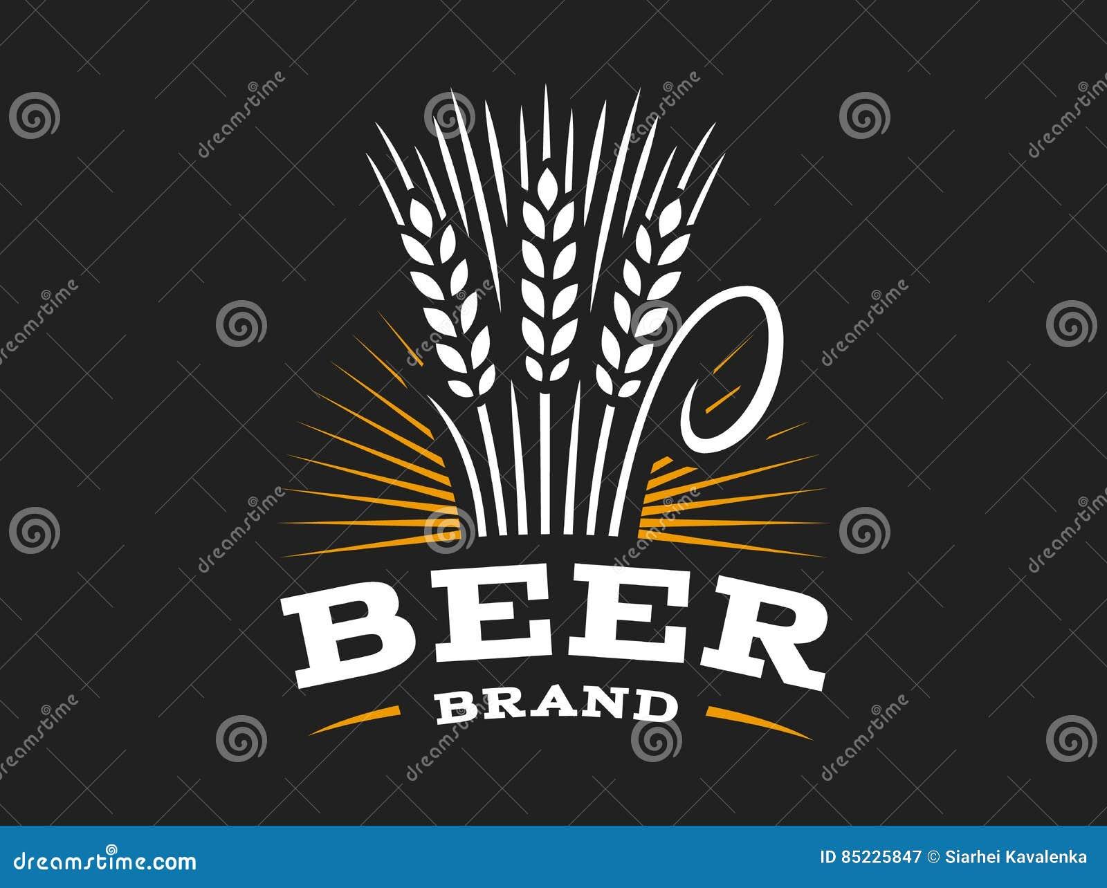 Bierweizenlogo - vector Illustration, Ohremblem auf schwarzem Hintergrund