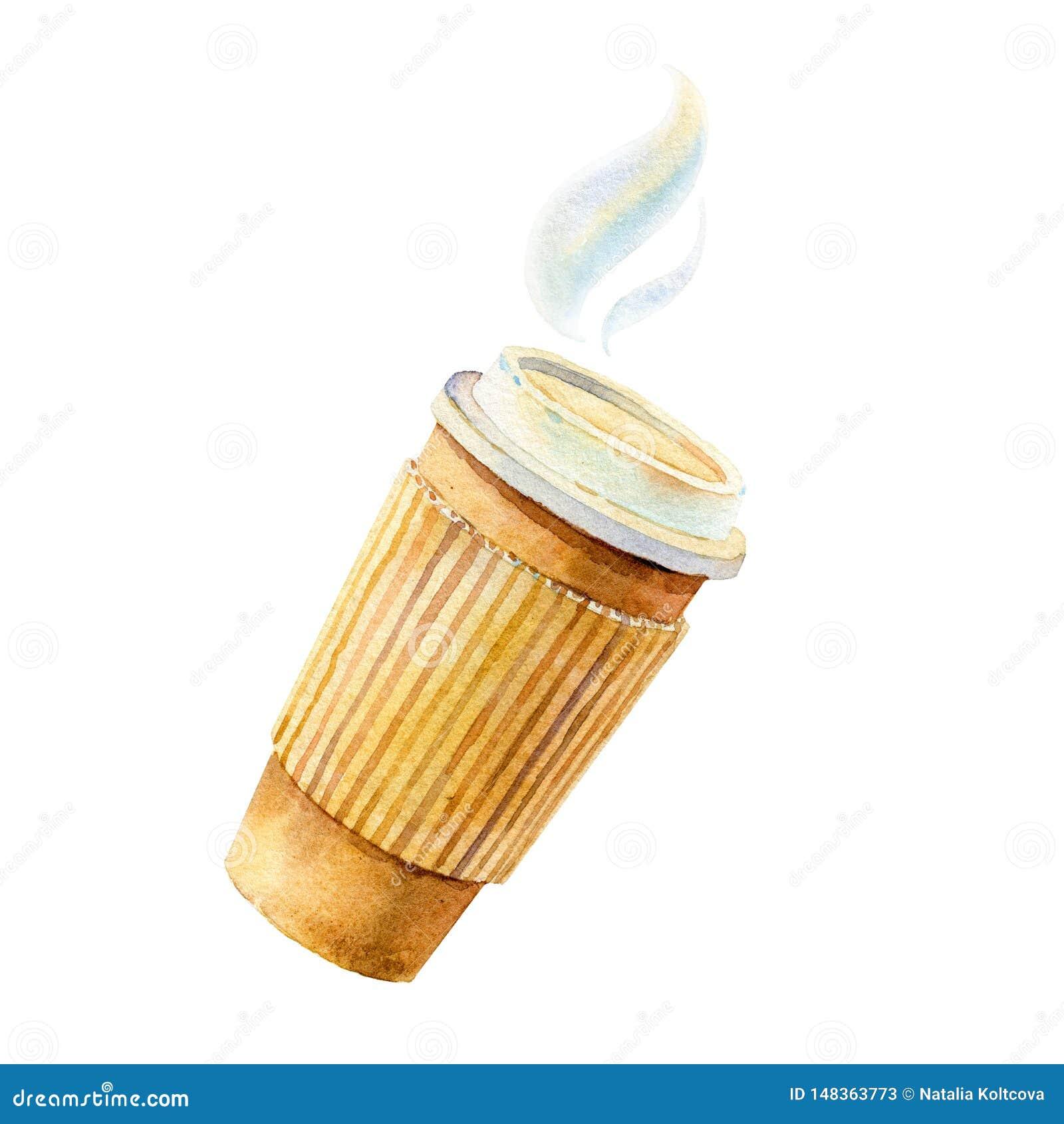 Bierze oddaloną kawę z filiżanka właścicielem, ręka rysująca - akwareli ilustracja