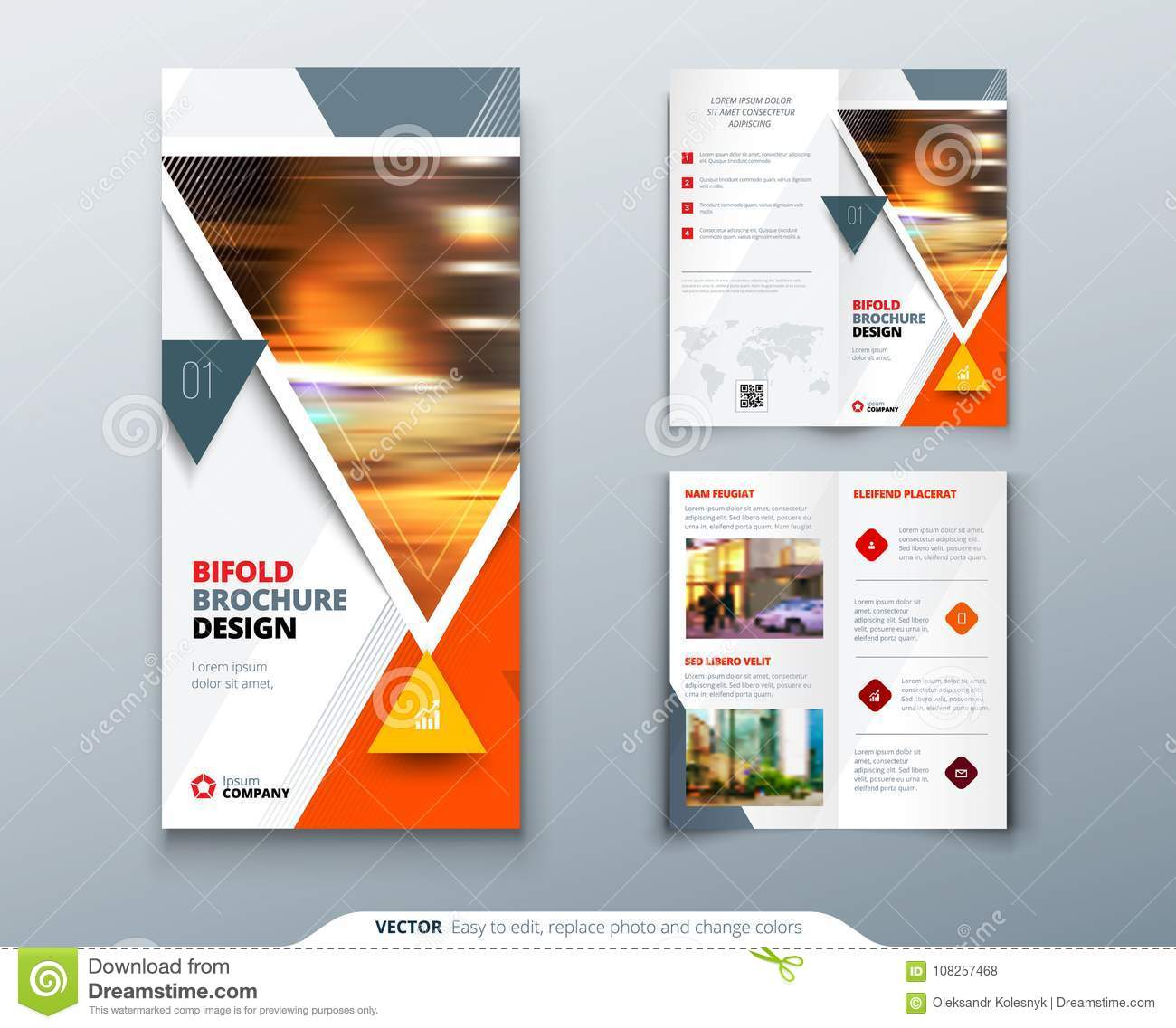 bifold brochure design red orange template for bi fold flyer