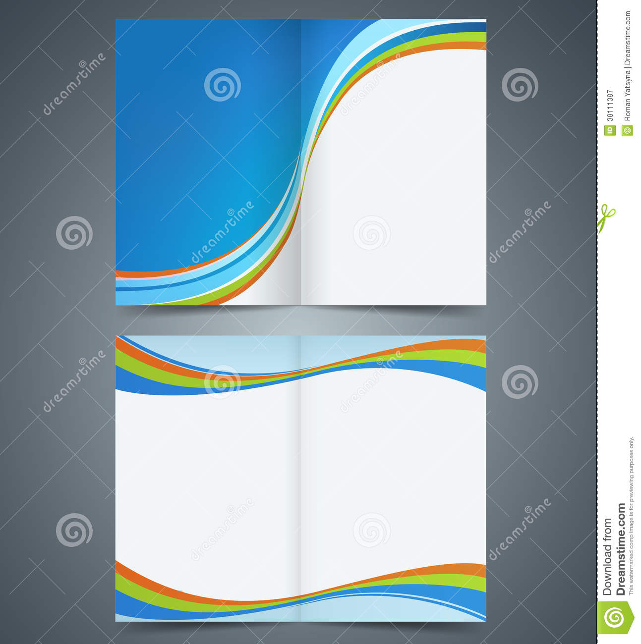 bifold brochure template design business leaflet stock vector