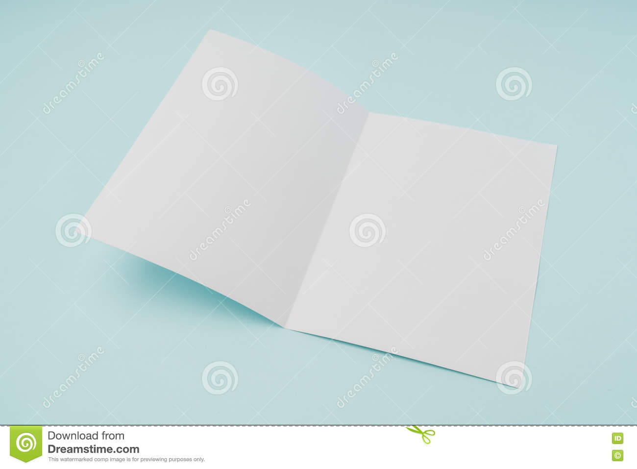 bifold white template paper on blue background stock image image