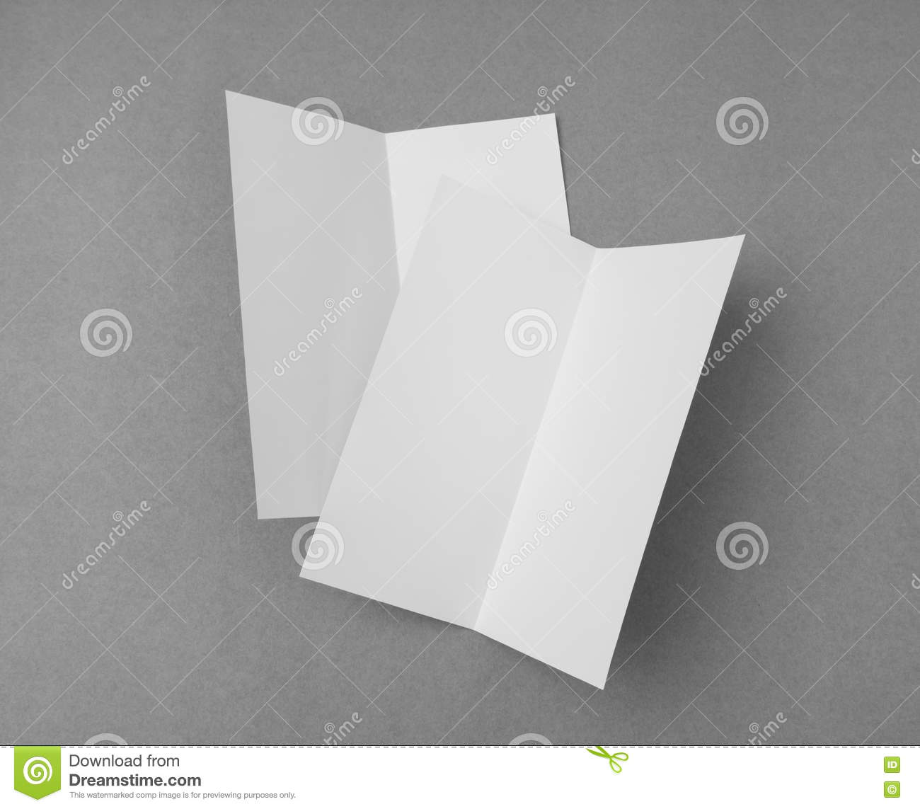 bifold white template paper on gray background stock image image