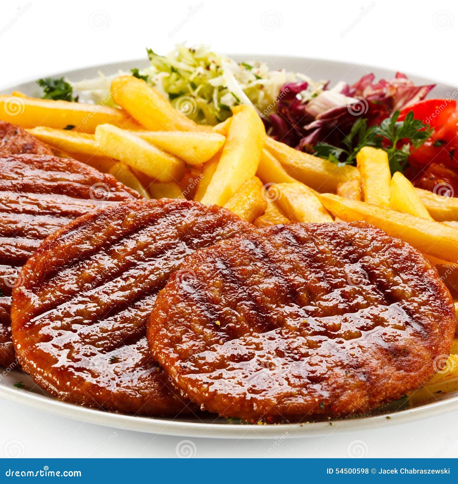 Bifteck et pommes frites grillés