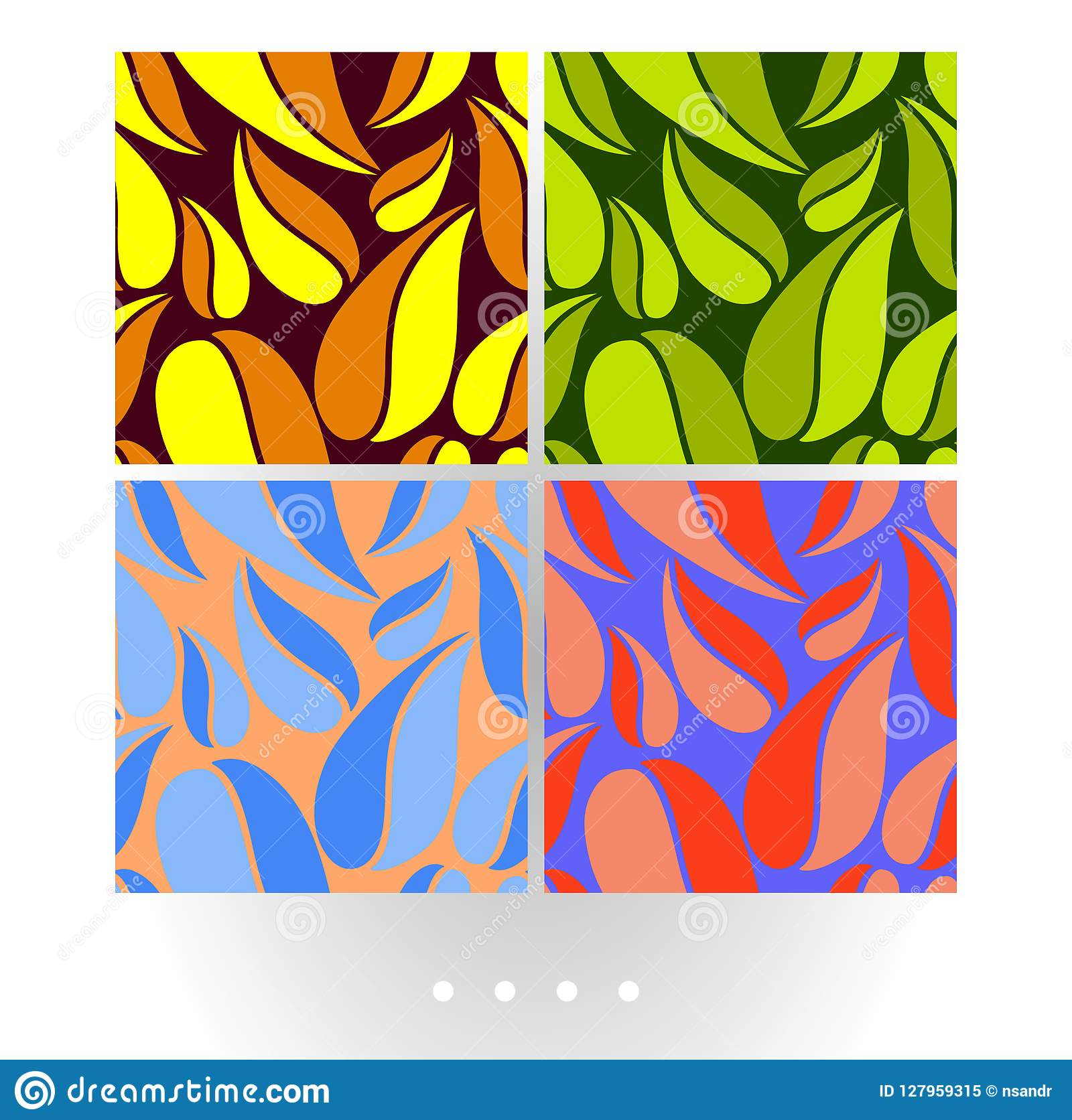 Set of vivid abstract vector seamless pattern with big leaves on colorful background.