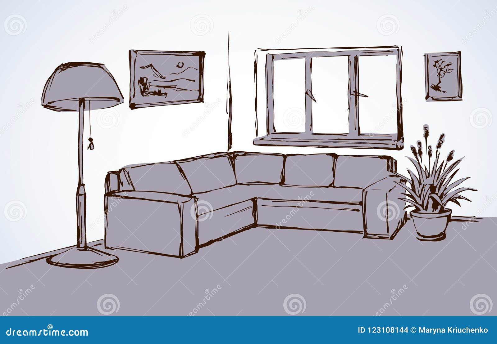 Corner Sofa Vector Drawing Stock Vector Illustration Of Doodle