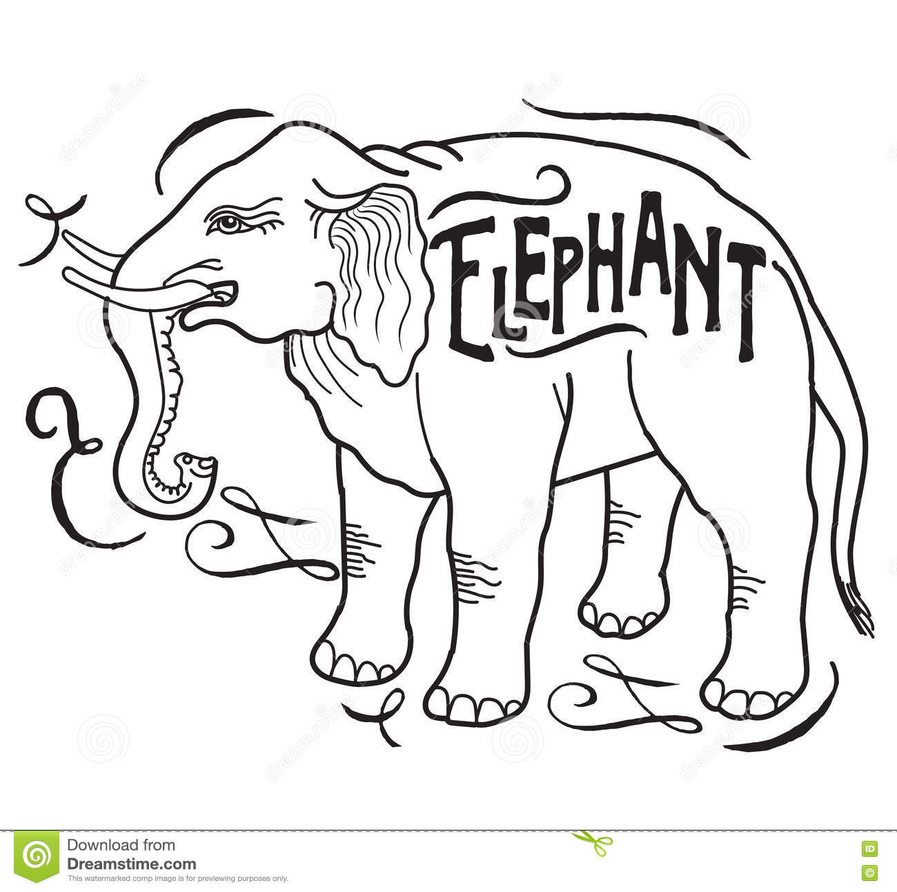 Contour Line Drawing Elephant : Big animal elephant on a white background stock vector