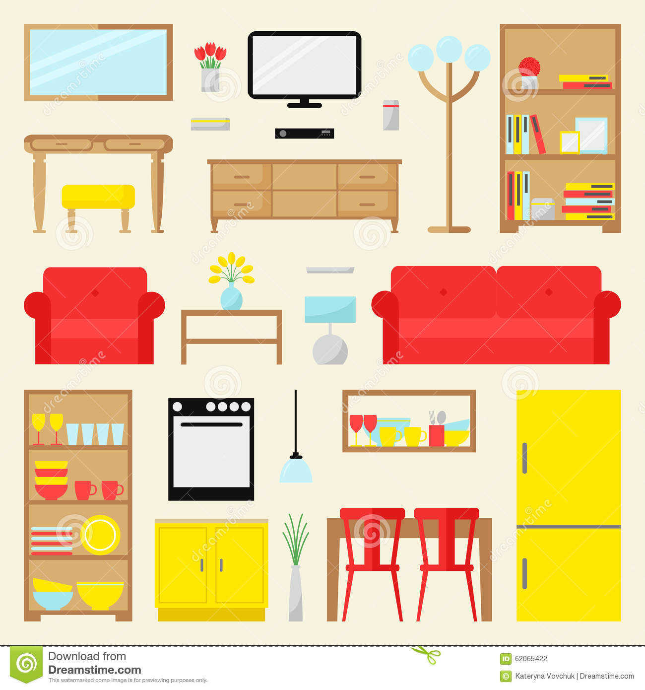 Stock Vector: Big apartment furniture set. Contemporary furniture for ...