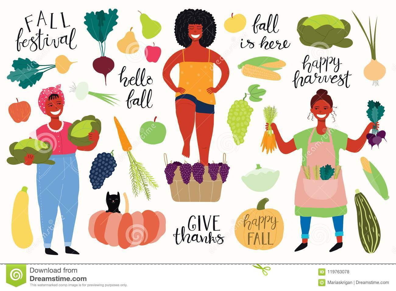 Harvest Set With Girls, Quotes, Fruits, Vegetables Stock