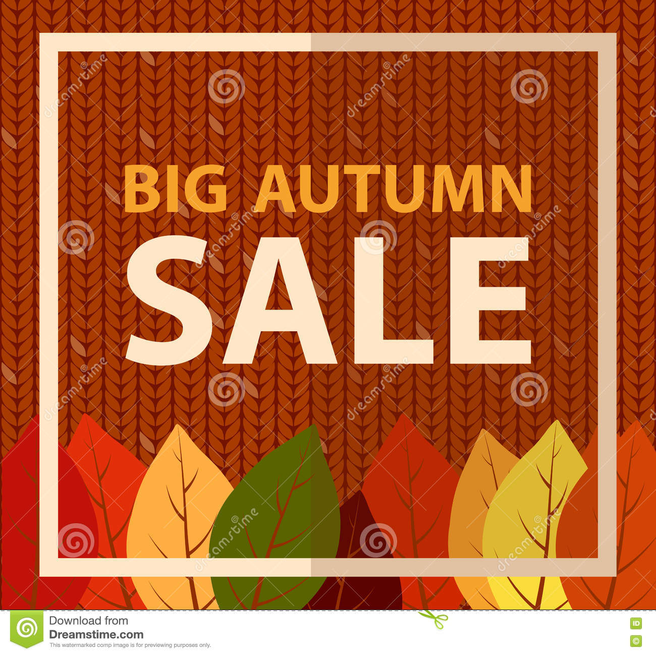 Big Autumn Sale Banner On Knitted Fabric Knit Pattern Background